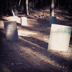 Eerieville graveyard's hand carved gravestones