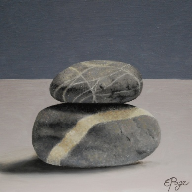 "Rock Stack 2 5"" x 5"" oil on board $100"