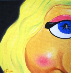 "Miss Piggy 6""x6"" oil on canvas"