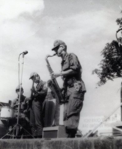 Dad playing sax in Vietman