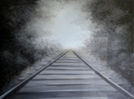 "Train Tracks in Blue  oil on canvas 48""x64"""