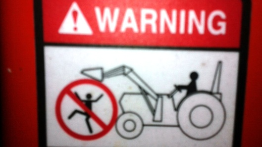 tractor bucket warning