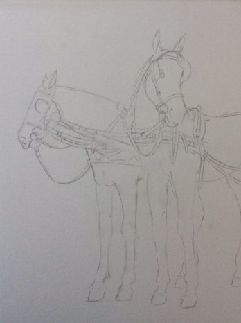 Carriage horses watercolor step 1