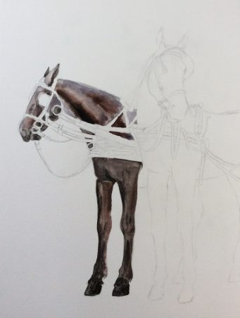 Carriage horses watercolor step 2