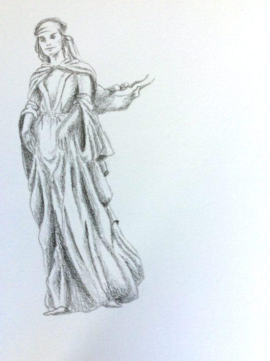 Tulln sculpture of Gudrun sketch