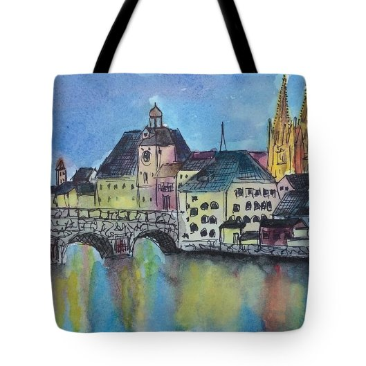 regensburg-at-night-emily-page tote
