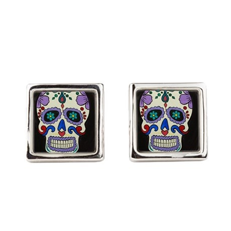 sugar skull square_cufflinks