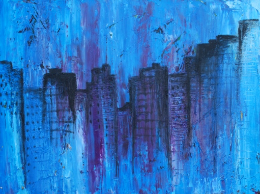 Abstract Cityscape in Blue