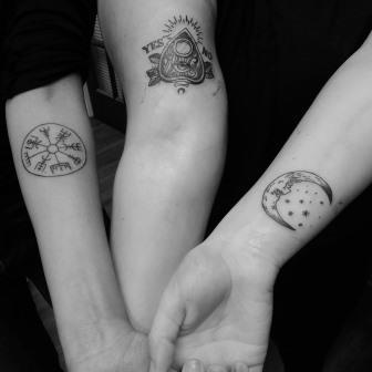 ouija planchette, runes, moon